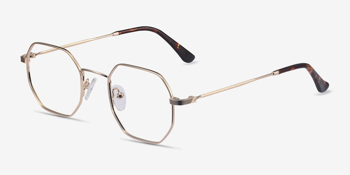 Soar Golden Metal Eyeglass Frames from EyeBuyDirect, Angle View