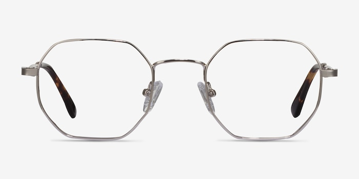 Soar Silver Metal Eyeglass Frames from EyeBuyDirect, Front View
