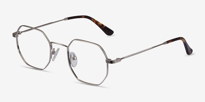 Soar Silver Metal Eyeglass Frames from EyeBuyDirect, Angle View