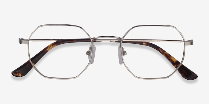 Soar Silver Metal Eyeglass Frames from EyeBuyDirect, Closed View