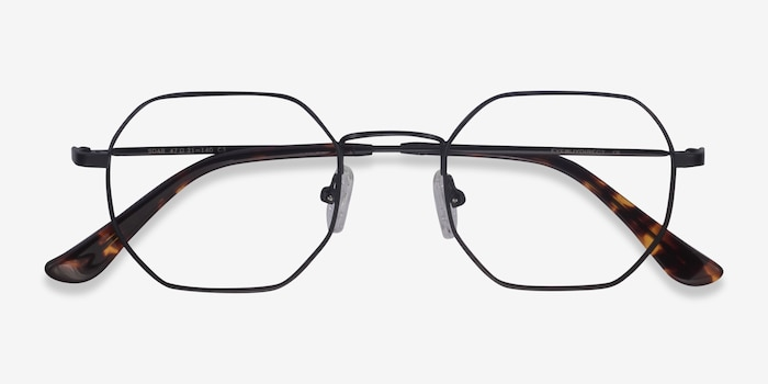 Soar Black Metal Eyeglass Frames from EyeBuyDirect, Closed View