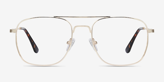 Fame Golden Metal Eyeglass Frames from EyeBuyDirect, Front View