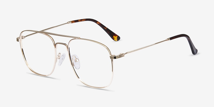 Fame Golden Metal Eyeglass Frames from EyeBuyDirect, Angle View