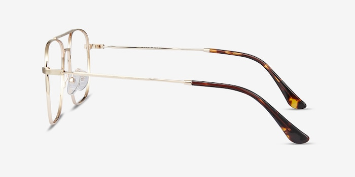 Fame Golden Metal Eyeglass Frames from EyeBuyDirect, Side View