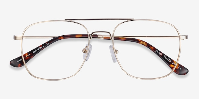 Fame Golden Metal Eyeglass Frames from EyeBuyDirect, Closed View