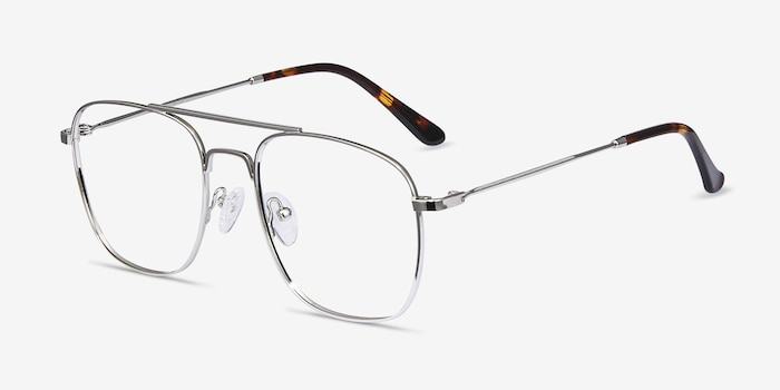 Fame Silver Metal Eyeglass Frames from EyeBuyDirect, Angle View