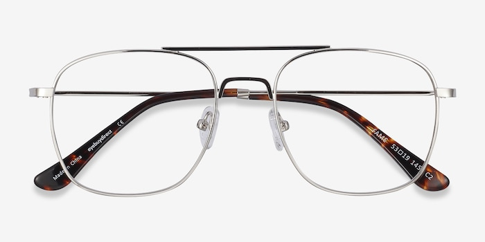 Fame Silver Metal Eyeglass Frames from EyeBuyDirect, Closed View