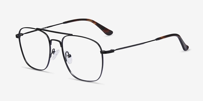 Fame Black Metal Eyeglass Frames from EyeBuyDirect, Angle View