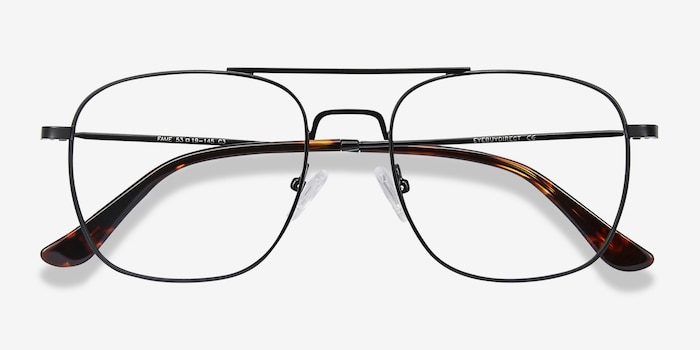 Fame Black Metal Eyeglass Frames from EyeBuyDirect, Closed View