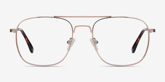 Fame Rose Gold Metal Eyeglass Frames from EyeBuyDirect, Front View