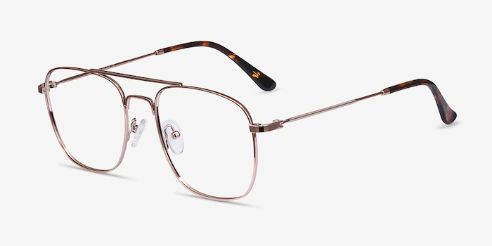 Fame Rose Gold Metal Eyeglass Frames from EyeBuyDirect, Angle View