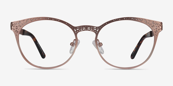 Lattice Rose Gold Metal Eyeglass Frames from EyeBuyDirect, Front View