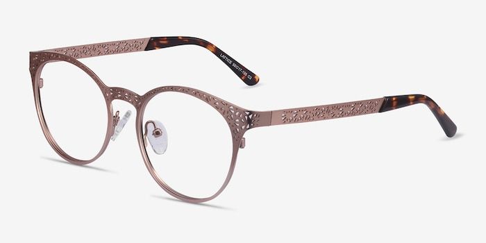 Lattice Rose Gold Metal Eyeglass Frames from EyeBuyDirect, Angle View