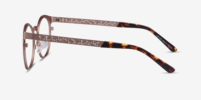 Lattice Rose Gold Metal Eyeglass Frames from EyeBuyDirect, Side View