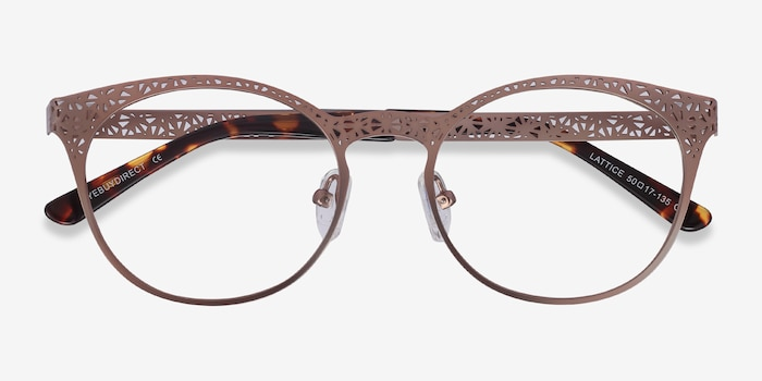 Lattice Rose Gold Metal Eyeglass Frames from EyeBuyDirect, Closed View