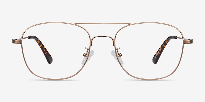 Courser Rose Gold Metal Eyeglass Frames from EyeBuyDirect, Front View