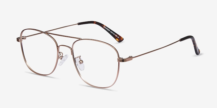 Courser Rose Gold Metal Eyeglass Frames from EyeBuyDirect, Angle View