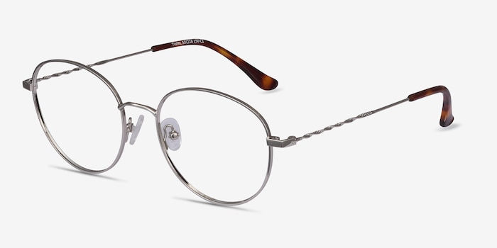 Twirl Silver Metal Eyeglass Frames from EyeBuyDirect, Angle View