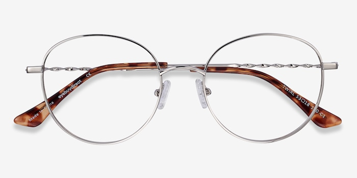 Twirl Silver Metal Eyeglass Frames from EyeBuyDirect, Closed View