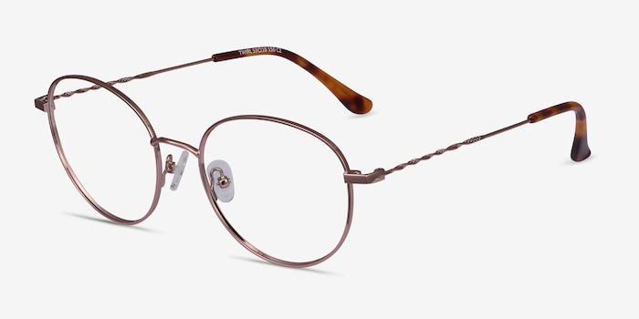 Twirl Rose Gold Metal Eyeglass Frames from EyeBuyDirect, Angle View