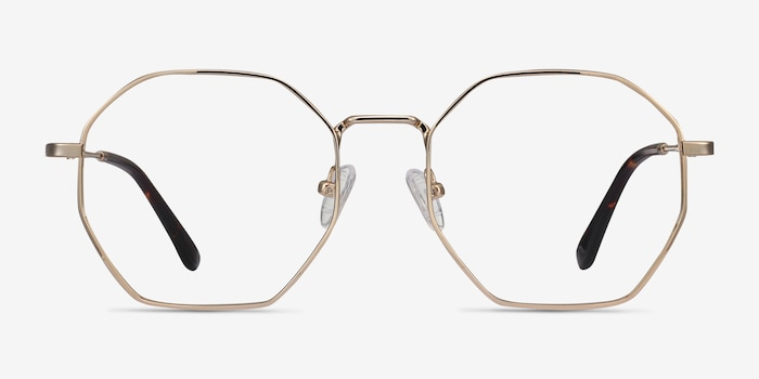 Octave Golden Metal Eyeglass Frames from EyeBuyDirect, Front View