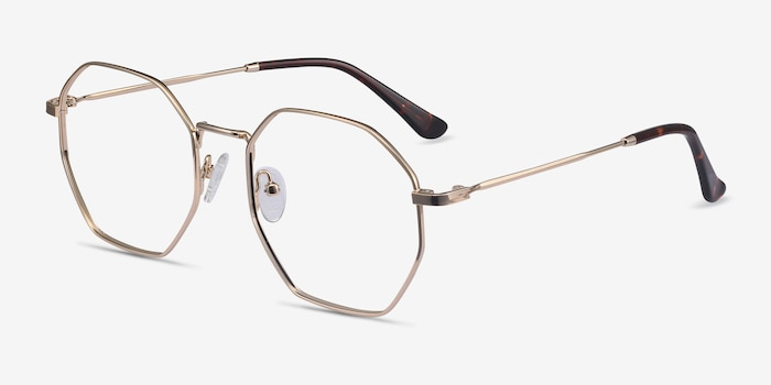 Octave Golden Metal Eyeglass Frames from EyeBuyDirect, Angle View
