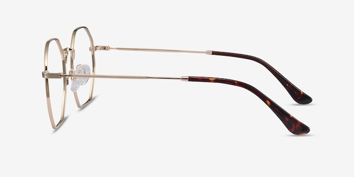 Octave Golden Metal Eyeglass Frames from EyeBuyDirect, Side View