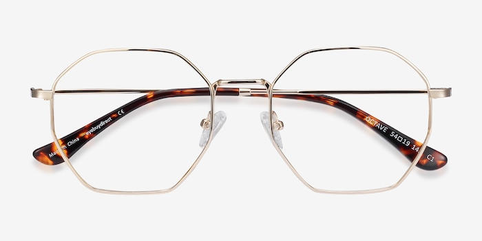 Octave Golden Metal Eyeglass Frames from EyeBuyDirect, Closed View