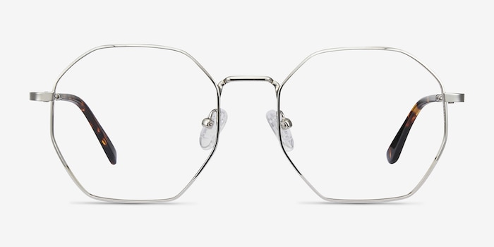 Octave Silver Metal Eyeglass Frames from EyeBuyDirect, Front View
