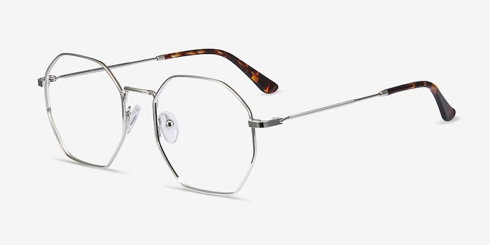Octave Silver Metal Eyeglass Frames from EyeBuyDirect, Angle View