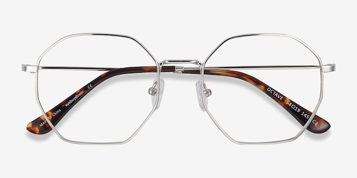 Octave Silver Metal Eyeglass Frames from EyeBuyDirect, Closed View