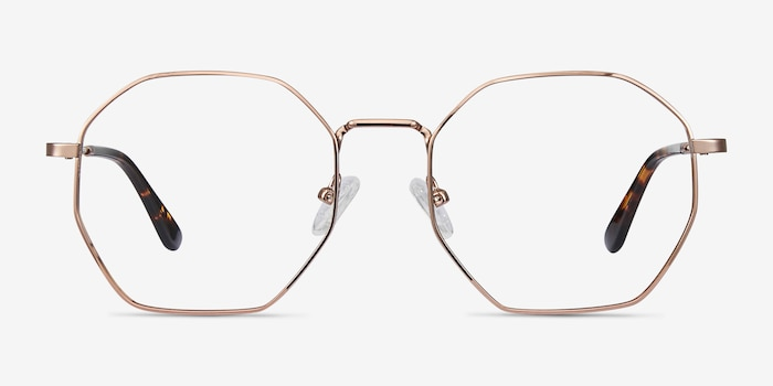 Octave Rose Gold Metal Eyeglass Frames from EyeBuyDirect, Front View