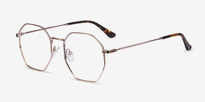 Octave Rose Gold Metal Eyeglass Frames from EyeBuyDirect, Angle View