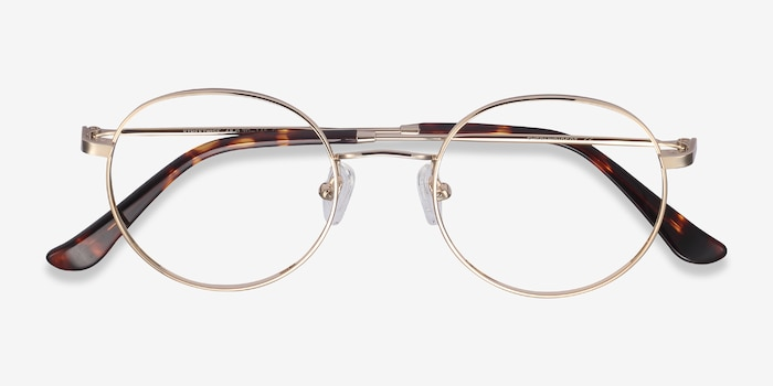 Streetwise Golden Metal Eyeglass Frames from EyeBuyDirect, Closed View