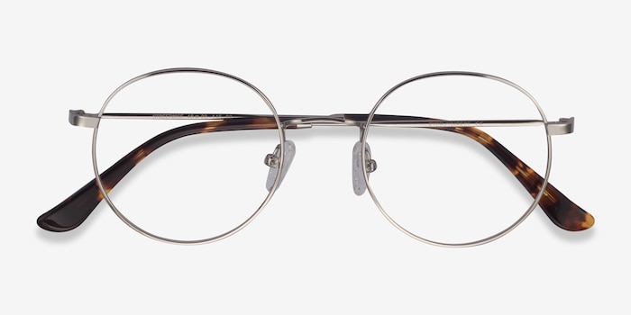 Streetwise Silver Metal Eyeglass Frames from EyeBuyDirect, Closed View