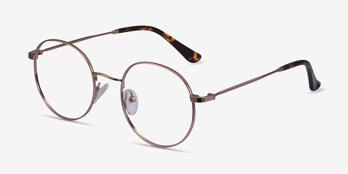 Streetwise Rose Gold Metal Eyeglass Frames from EyeBuyDirect, Angle View