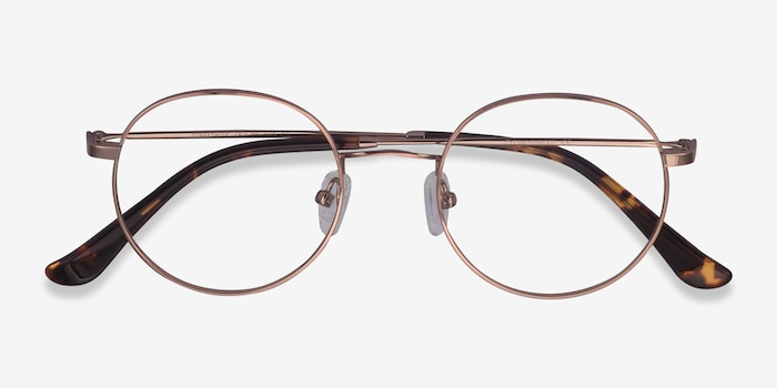 Streetwise Rose Gold Metal Eyeglass Frames from EyeBuyDirect, Closed View