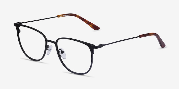 Vita Black Metal Eyeglass Frames from EyeBuyDirect, Angle View