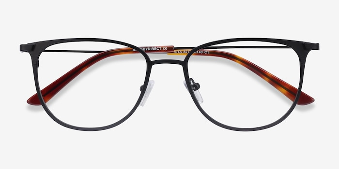 Vita Black Metal Eyeglass Frames from EyeBuyDirect, Closed View