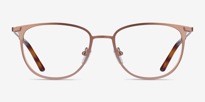Vita Rose Gold Metal Eyeglass Frames from EyeBuyDirect, Front View