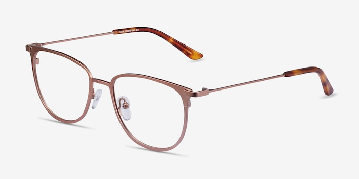 Vita Rose Gold Metal Eyeglass Frames from EyeBuyDirect, Angle View