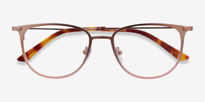Vita Rose Gold Metal Eyeglass Frames from EyeBuyDirect, Closed View