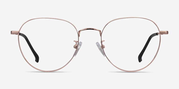 Inspire Golden Metal Eyeglass Frames from EyeBuyDirect, Front View