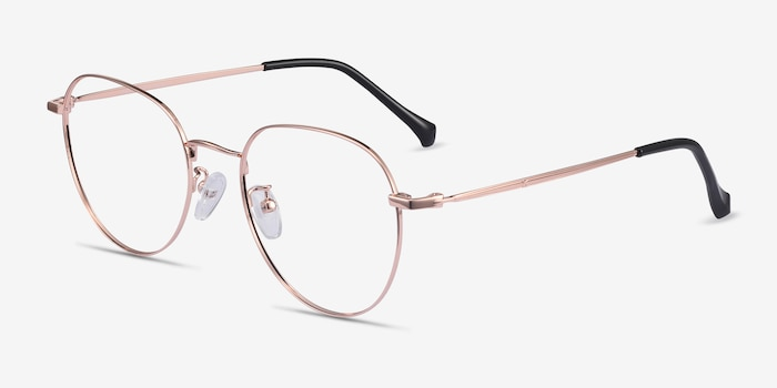 Inspire Golden Metal Eyeglass Frames from EyeBuyDirect, Angle View