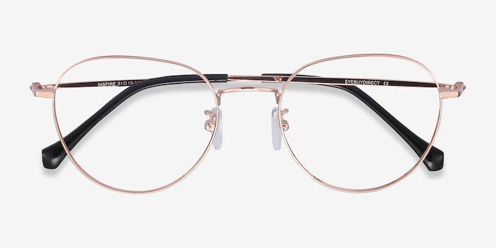 Inspire Golden Metal Eyeglass Frames from EyeBuyDirect, Closed View