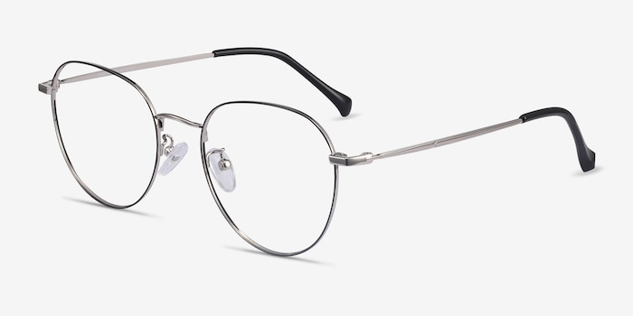 Inspire Black Silver Metal Eyeglass Frames from EyeBuyDirect, Angle View