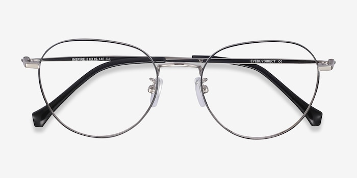 Inspire Black Silver Metal Eyeglass Frames from EyeBuyDirect, Closed View