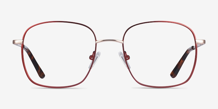 Archive Burgundy Metal Eyeglass Frames from EyeBuyDirect, Front View
