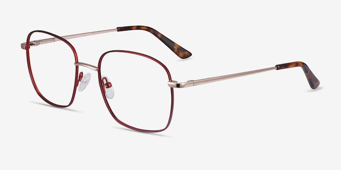 Archive Burgundy Metal Eyeglass Frames from EyeBuyDirect, Angle View