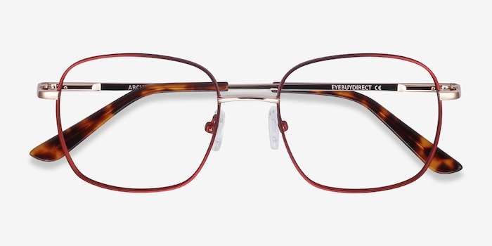 Archive Burgundy Metal Eyeglass Frames from EyeBuyDirect, Closed View